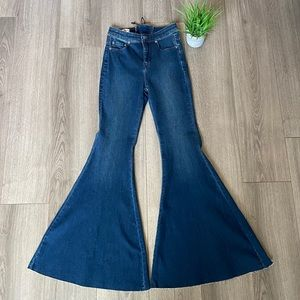 Free People Crvy Super High Rise Lace Up Flares 26